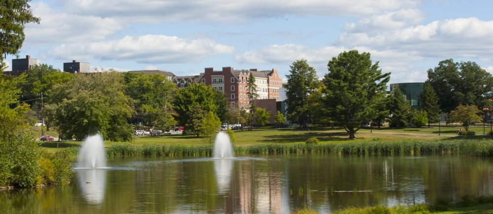 Miror Lake on a summer day on Aug. 29, 2014. (Sean Flynn/UConn Photo)
